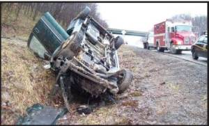 Van rollover crash on I-68